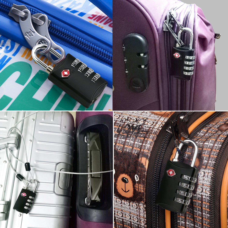 Emooqi TSA Cadenas de s/écurit/é /à combinaison de 4 chiffres pour valise et bagages approuv/é par la TSA voyage s/écuris/é 2 Cadenas
