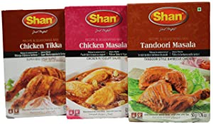 Shan Foods Masala Chicken Value Pack (Tikka BBQ, Tandoori, Masala) Mix Spices- Meat Ingredients – Vegetable Dishes - Indian/Pakistani Bundle Combo Variety – Curry Mix Powder Seasoning – Special
