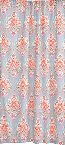 Levtex Home – Marielle – Window Panel with Rod Pocket – One Curtain Panel 84 inch Length – Boho Medallion – Grey, Orange, Turquoise, Green, Red, Citron, Yellow, Blue – 100 Cotton – Lined