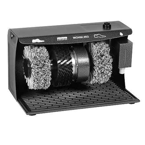 FineBuy Schuhputzmaschine automatisch mit 3 Bürsten System elektrisch Schuhputzautomat hoher Comfort Schuhputzer Schuh Poliermaschine mit Gummimatte