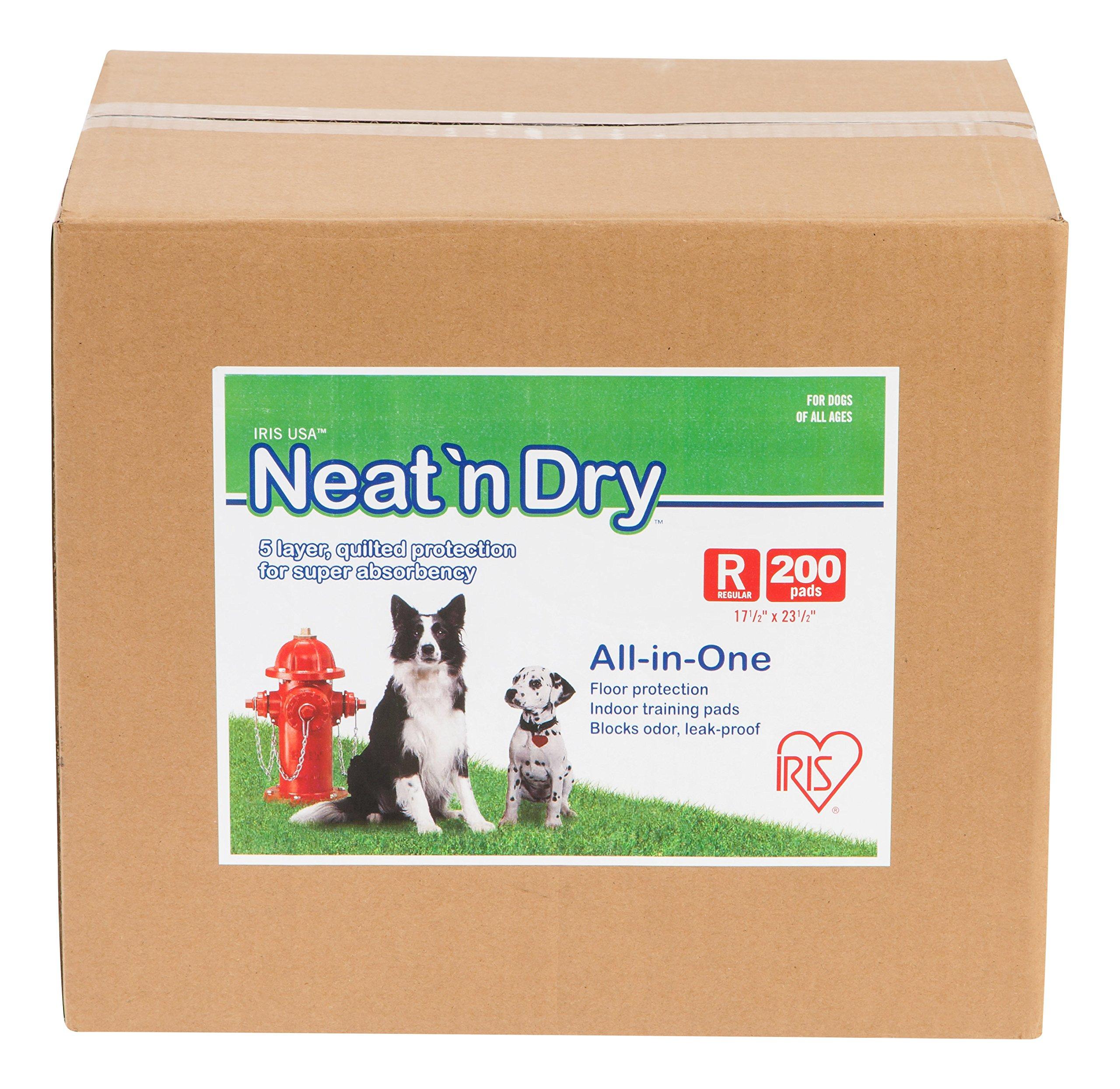 IRIS Neat 'n Dry Premium Pet Training Pads, Regular,  17.5'' x 23.5'', 200 Count by IRIS USA, Inc.