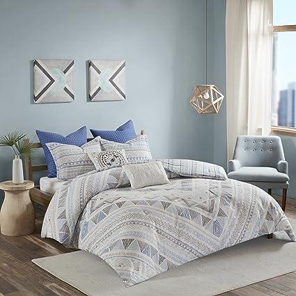 7 Piece Light Blue Grey Abstract Comforter Full Queen Set, Sky Blue White  Gray Aztec
