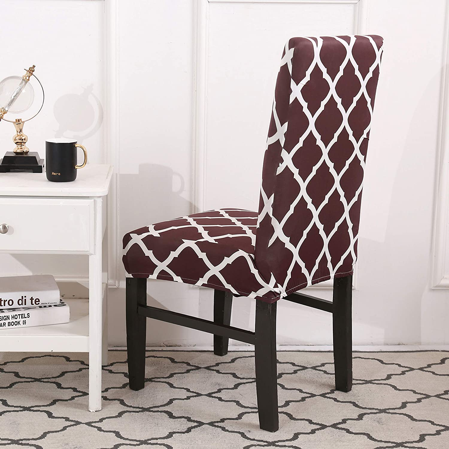 Removable Washable Anti-Dust Dinning Upholstered Chair Seat Cushion Slipcovers Protective Covers with Ties Padgene Stretch Printed Dining Chair Seat Covers