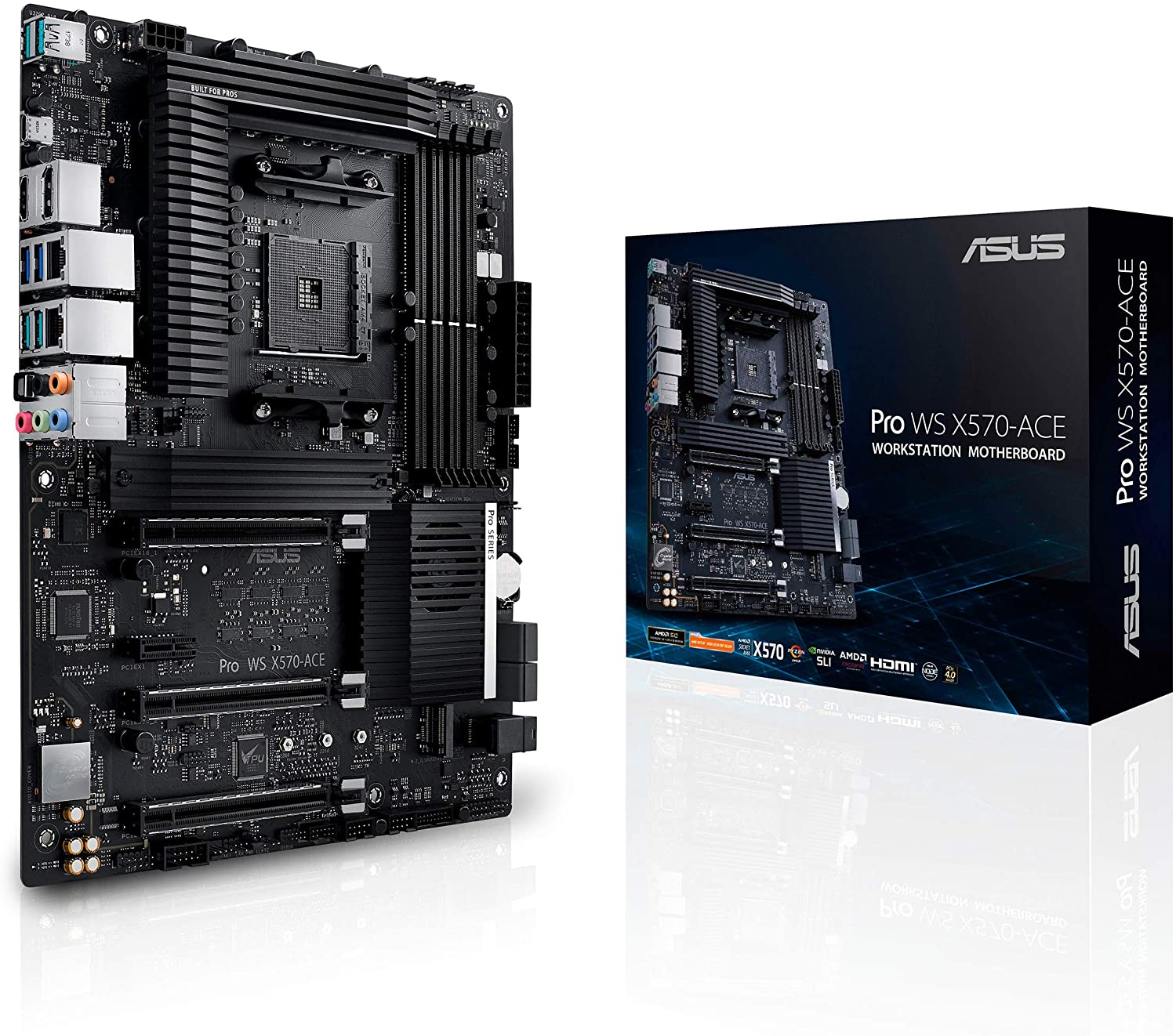 ASUS AMD AM4 Pro WS X570-Ace ATX Workstation Motherboard with 3 PCIe 4.0 X16, Dual Realtek and Intel Gigabit LAN, DDR4 ECC Memory Support, Dual M.2, U.2, and Control Center