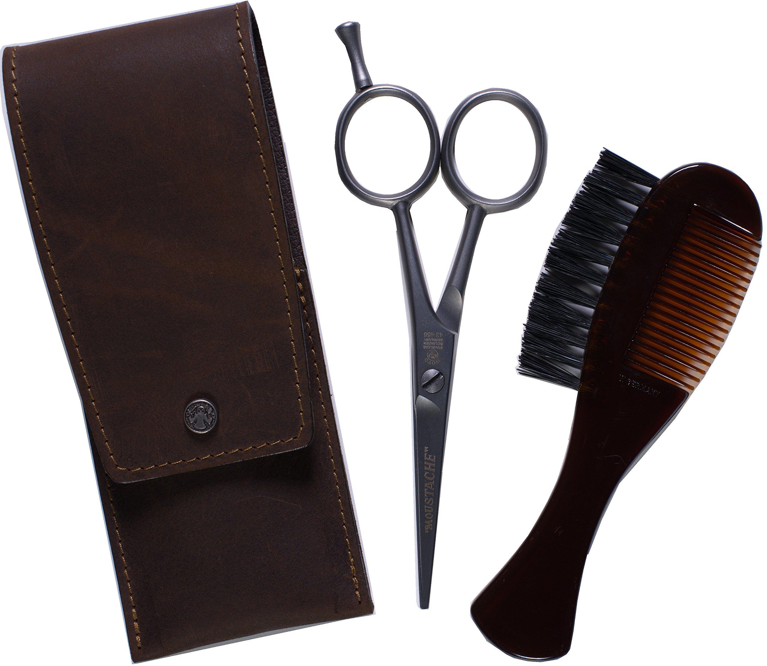 Dovo Beard and Moustache Scissor Set - Comb/Brush, Custom Case, Stainless Steel 4.5-Inch Scissor, Made in Germany