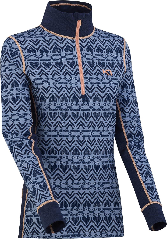 Kari Traa Women's Lune Base Layer Top - Half Zip Synthetic Thermal Shirt Naval Large