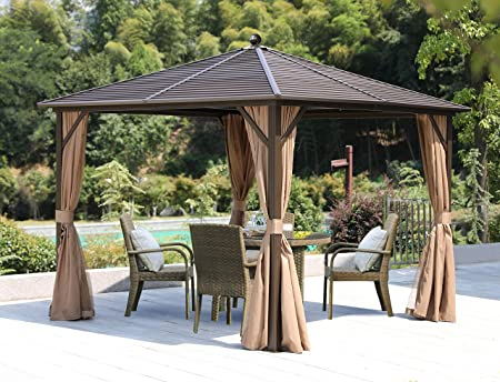 Amazon Com Erommy Outdoor Hardtop Gazebo Canopy Curtains Aluminum Furniture With Netting For Garden Patio Lawns Parties Galvanized Steel10 10 Garden Outdoor