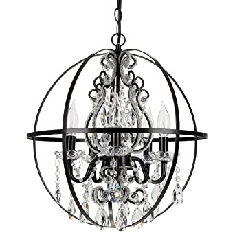 Amalfi Decor Luna Black Orb Chandelier, Metal Sphere Plug In 5 Light  Crystal Beaded