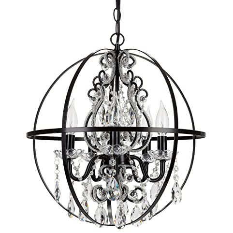 luna black orb chandelier metal round sphere plugin 5 light swag glass crystal