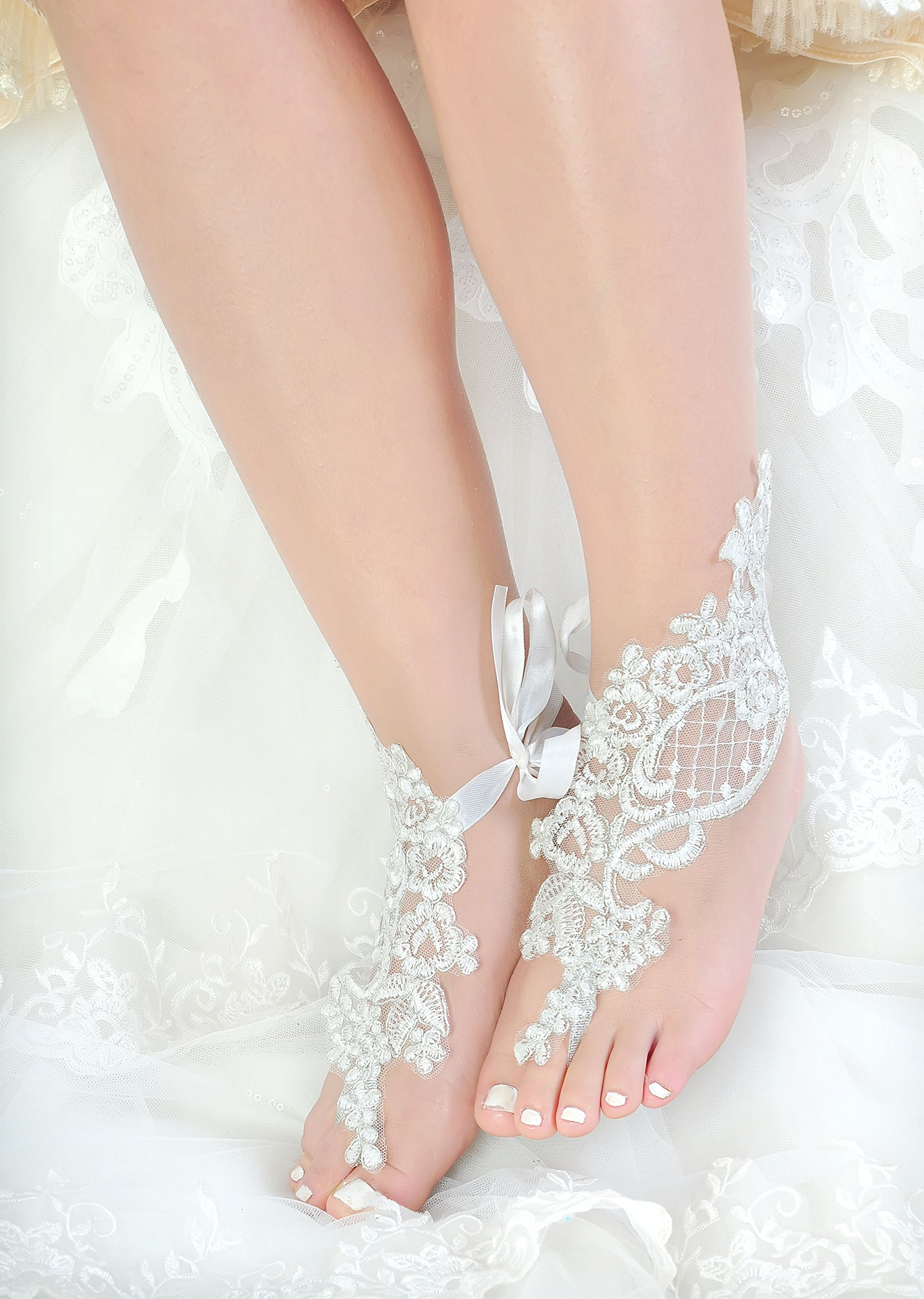 Handmade Lace Anklets,Destination Wedding Barefoot Sandals Prom Party Bangle,Bellydance Accessories-T1 by Fine Lady (Image #3)