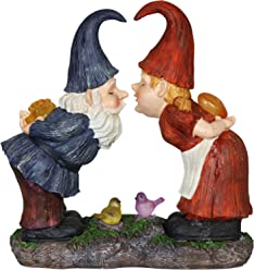 Exhart Gardening Gifts – Garden Gnomes Kissing Statue - Whimsical Garden Statues w/Solar Garden Lights, Outdoor Use, Fairy Themed Garden Décor, Weather Resistant Resin Statues