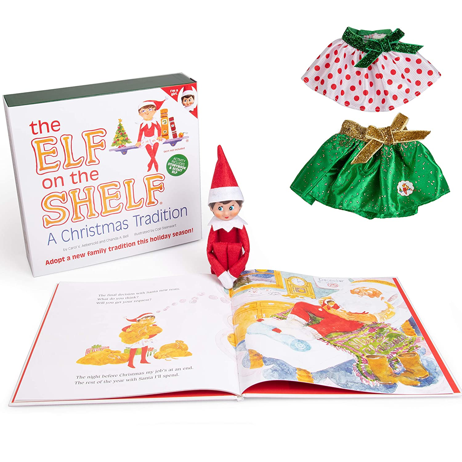 The Elf On The Shelf Girl Elf Edition With North Pole Blue Eyed Girl Elf Bonus Pair Of Party Skirts And Girl Character Themed Storybook