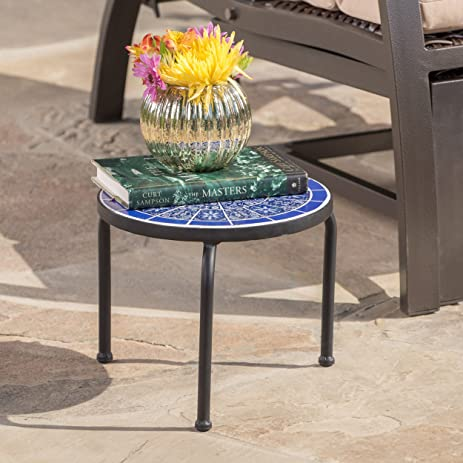 Soleil Outdoor Blue U0026 White Ceramic Iron Frame Tile Side Table