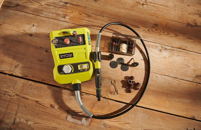 Ryobi 5133004366 Outil Rotatif 18 V 33 Pi/èces Kit daccessoires de 90 cm Longueur du c/âble, Suspension Murale, sans batterie R18RT-0