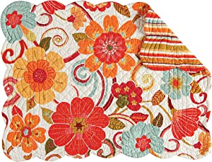C&F Home Giselle Rectangular Cotton Quilted Cotton Reversible Machine Washable Placemat Set of 4 Rectangular Placemat Orange White
