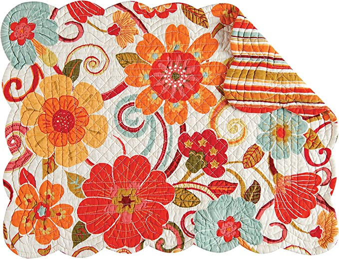 C F Home Giselle Rectangular Cotton Quilted Cotton Reversible Machine Washable Placemat Set Of 4 Rectangular Placemat Orange White Home Kitchen Amazon Com
