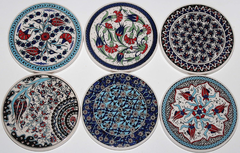 Turkish Handmade Iznik Floral Pattern Ceramic Coaster Set of 6