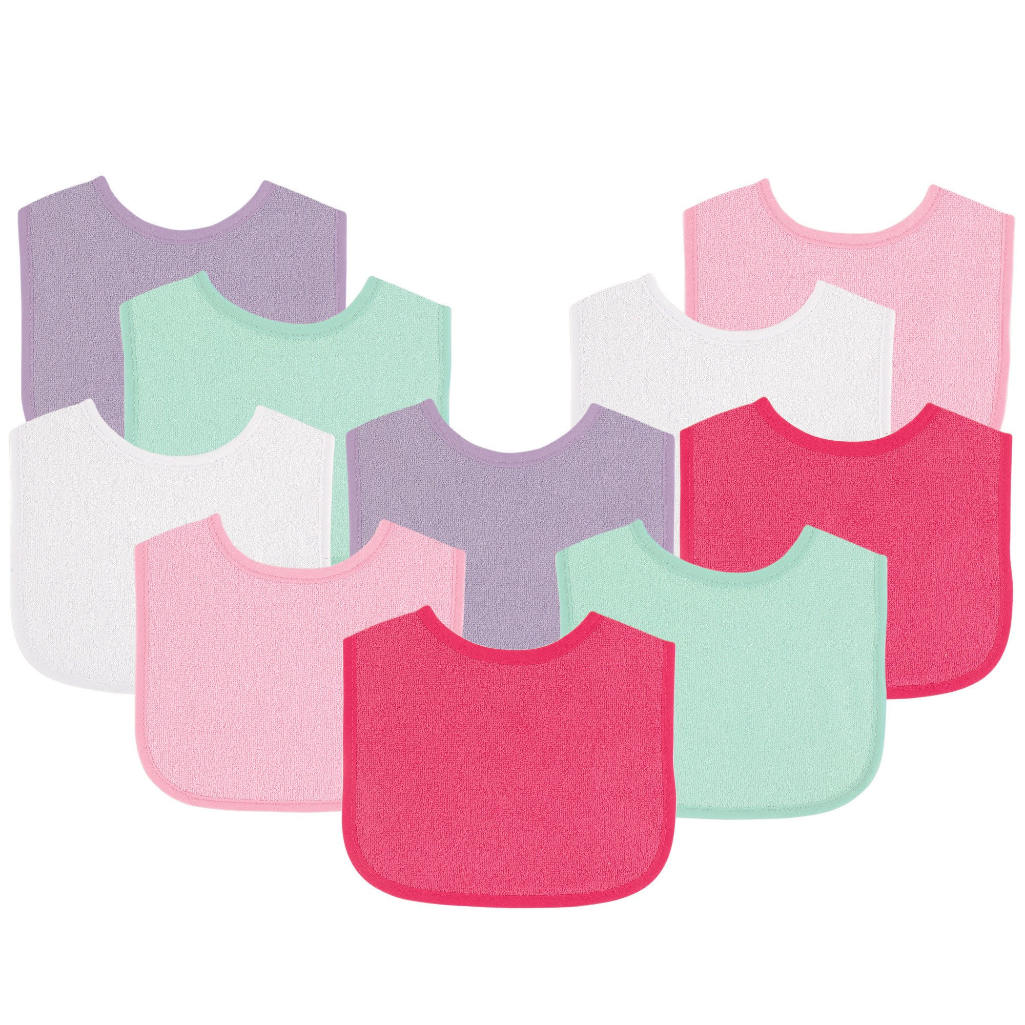 Luvable Friends Baby Bibs Value Pack, Pink/Purple, 6 x 7.5, 10 Count (Colors May Vary)
