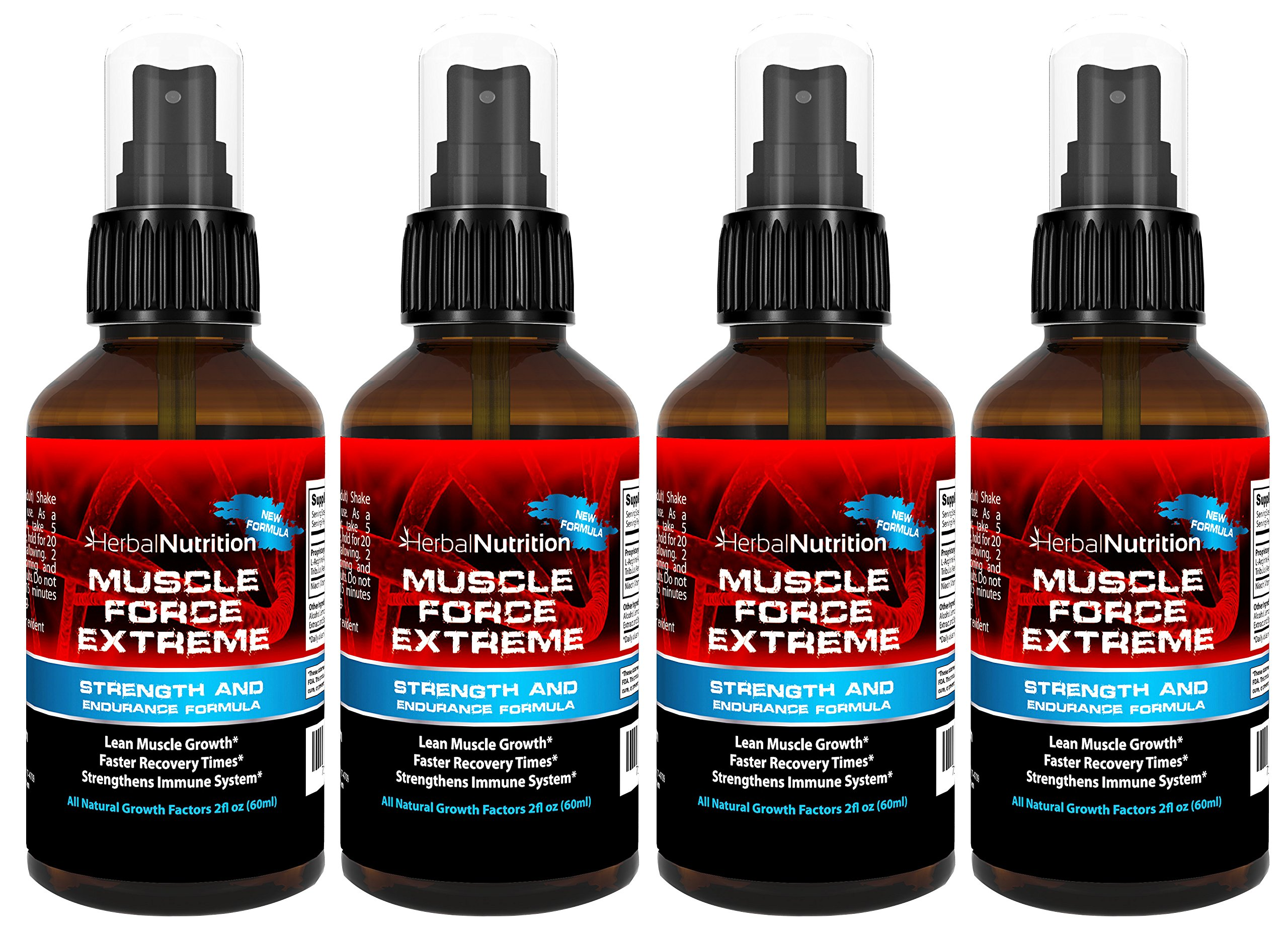 #1 Rated MUSCLE FORCE EXTREME! | Four Bottle Pack | 400mg Proprietary Formula | Our Strongest Strength and Endurance Spray! | Improve Strength and Recovery | Four 2oz Spray Bottles | Free Shipping