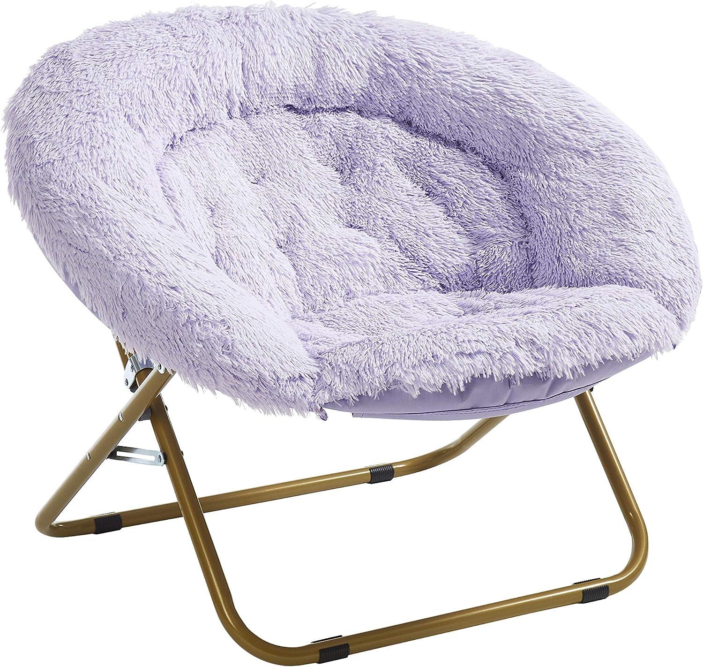 Urban Shop Mongolian Faux Fur Oversized Saucer Chair, Lavender