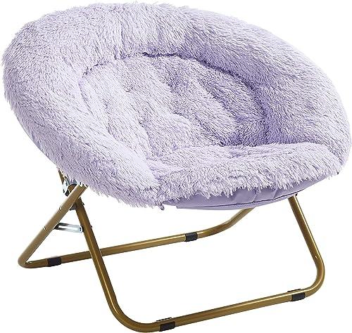 Urban Shop Mongolian Faux Fur Oversized Saucer Chair