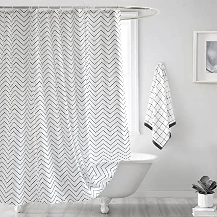 Ufelicity Classic Shower Curtain Polyester Mildew Resistant Black And White Stripe Bath Water Repellent