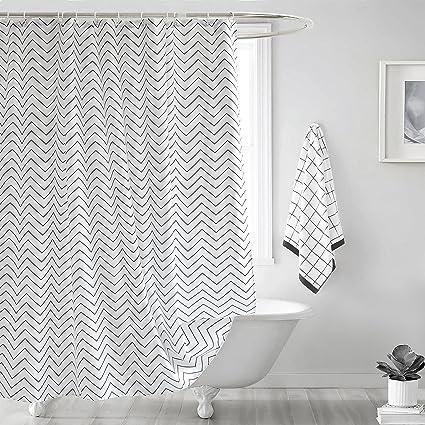 Charmant Fabric Shower Curtain, Seavish White Chevron Mildew Resistant Waterproof 72  X 78 Inches Long Bathroom