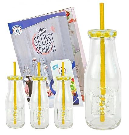 Juego de 4 botellas de cristal (con tapa y pajita, incluye recetas – Amarillo