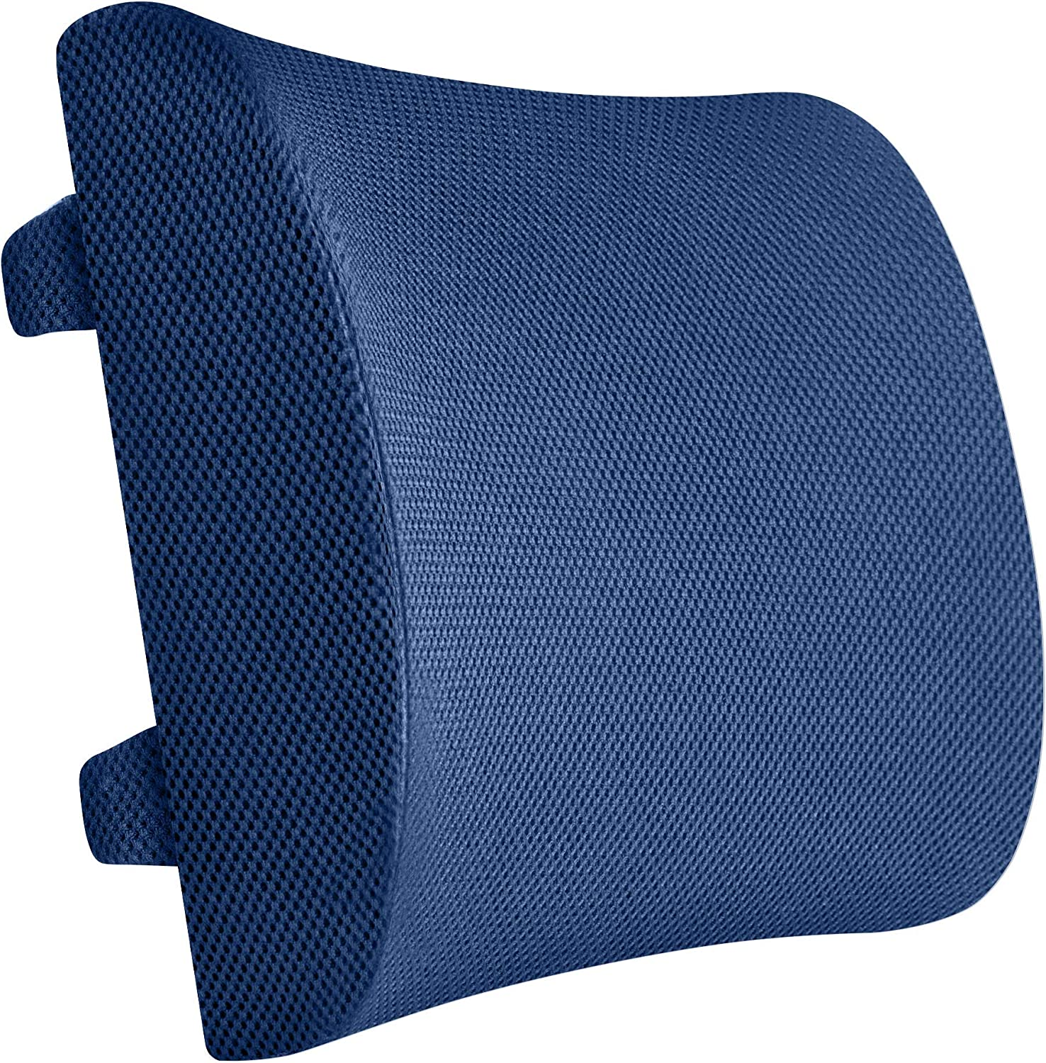 Everlasting Comfort 100% Pure Memory Foam Back Cushion - Lumbar Support Back Pillow - Fits Car Seat and Office Chair - Lower Back Pain Relief (Navy Blue)