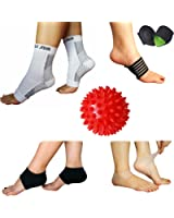 NEW Plantar Fasciitis Pain Relief Recovery Kit - Foot Compression Sleeve, Heel Protectors, Cushioned Arch Support Wrap, Foot Massage Ball for Foot Therapy Pain Relief