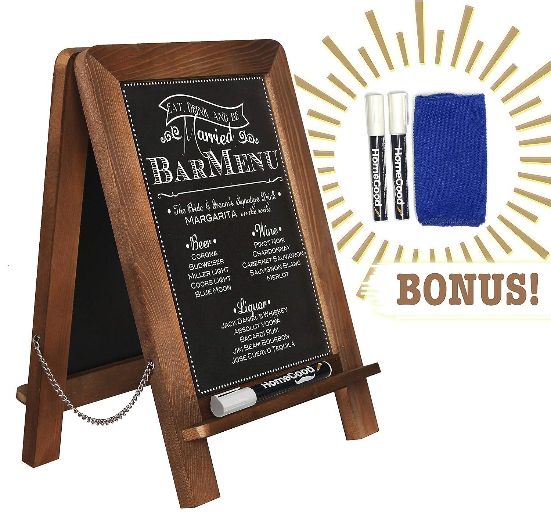 "Standing Double Sided Tabletop Kitchen Chalkboard (14"" x 9.5"") - Decorative Antique Board for Rustic Wedding, Presentation, Bar Menu, Kitchen Decor + Bonus Liquid CHALKS & Cleaning KIT (Brown Oak)"