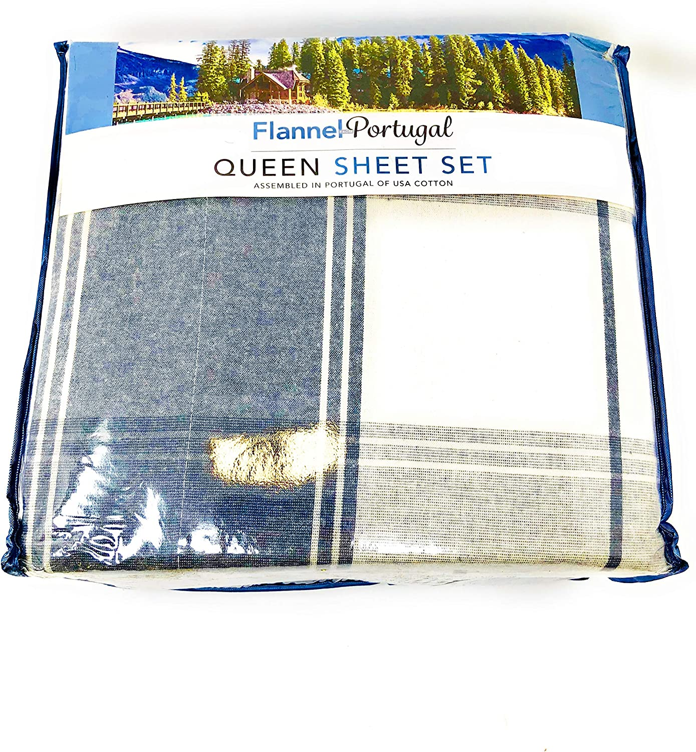 Amazon Com Flannel From Portugal 4 Piece Queen Sheet Set Plaid Home Kitchen
