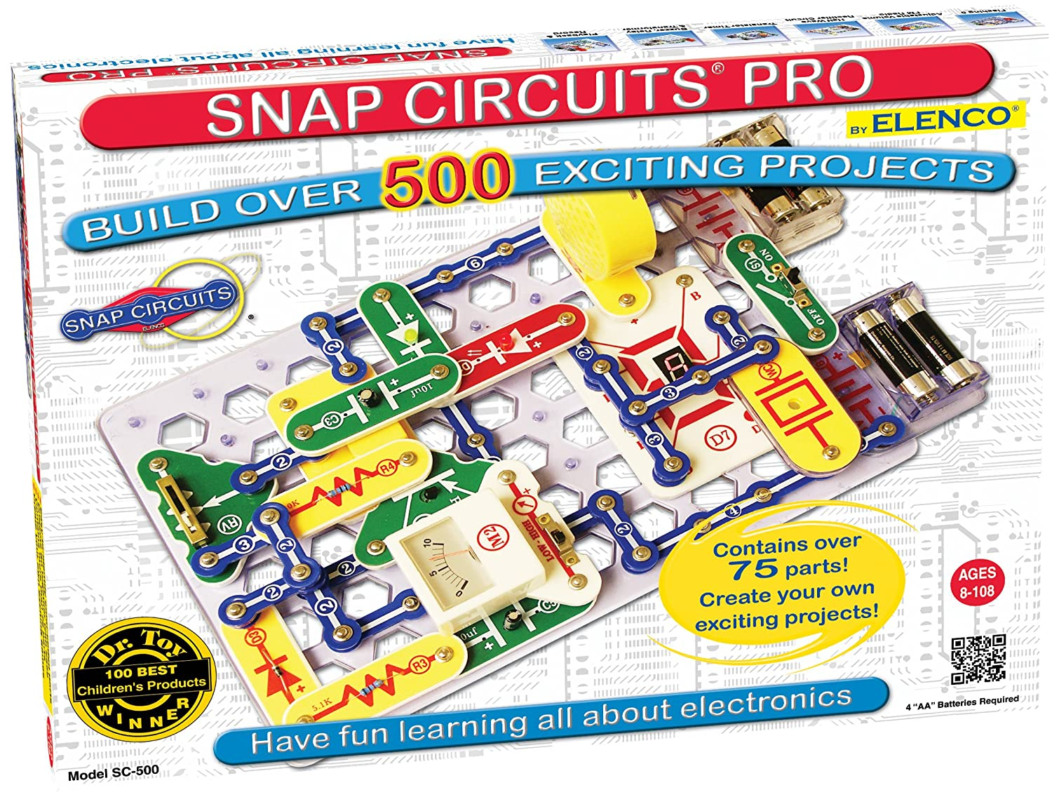 Snap Circuits PRO SC-500 Electronics Exploration Kit | Over 500 STEM Projects | 4-Color Project Manual | 75+ Snap Modules | Unlimited Fun
