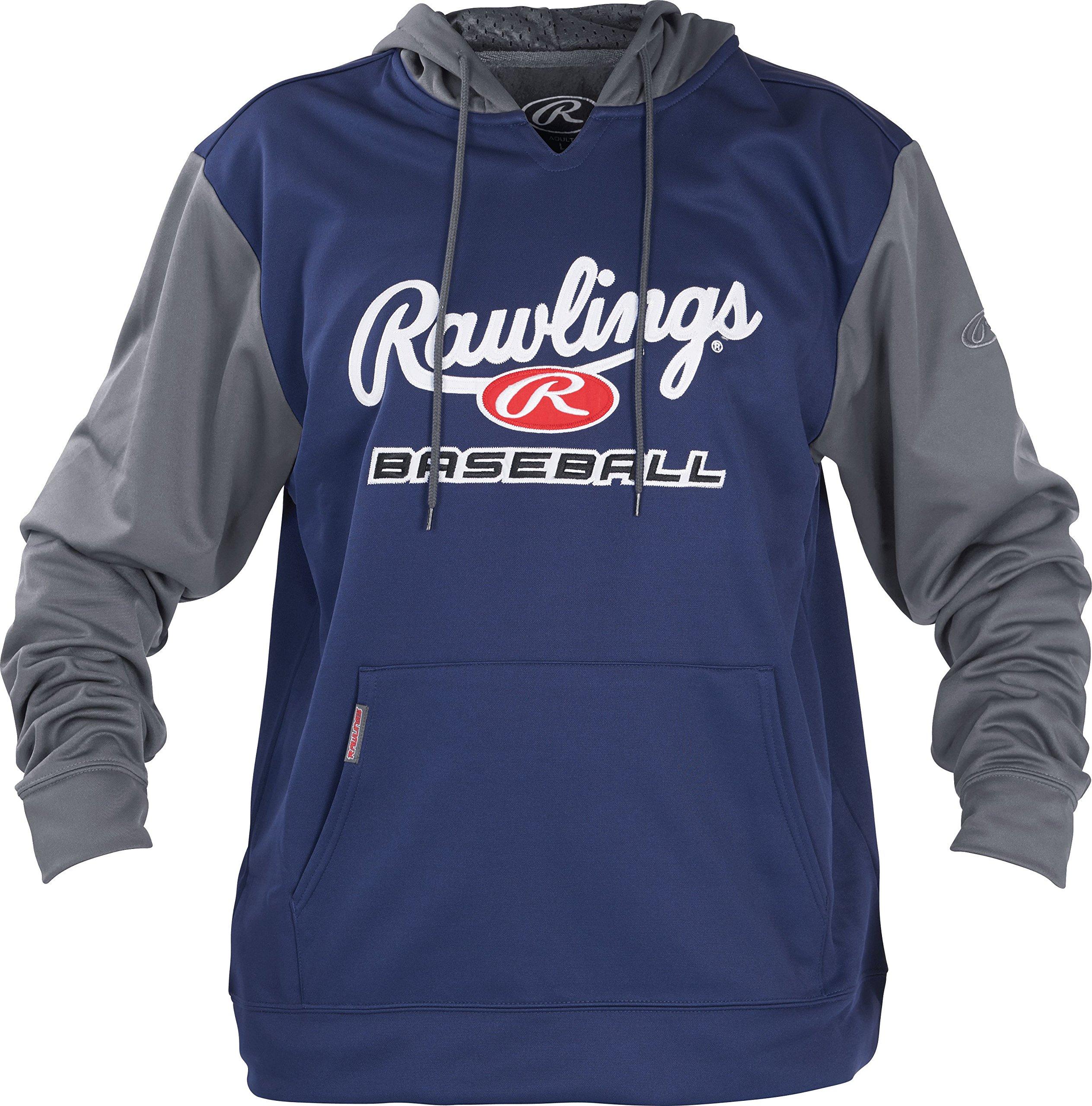 Rawlings Men's Performance Fleece Baseball Hoodie Navy/Gray Medium by Rawlings (Image #1)