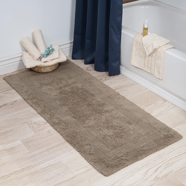 Cotton Bath Mat- Plush 100 Percent Cotton 24x60 Long Bathroom Runner- Reversible, Soft, Absorbent, and Machine Washable Rug by Lavish Home (Blue) 67-0019-B