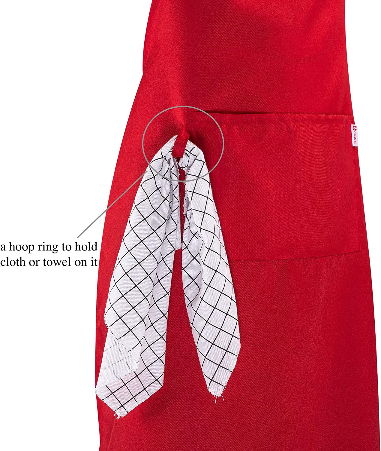 2 Pack Unique Design Durable String Adjustable Extra Long Ties with Pocket White Aprons for Women