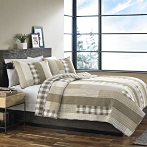 Eddie Bauer Fairview Cotton Quilt Set, King, Sand