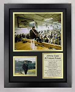 """Legends Never Die Johnny Cash at Folsom Prison Collectible   Framed Photo Collage Wall Art Decor - 12""""x15"""""""