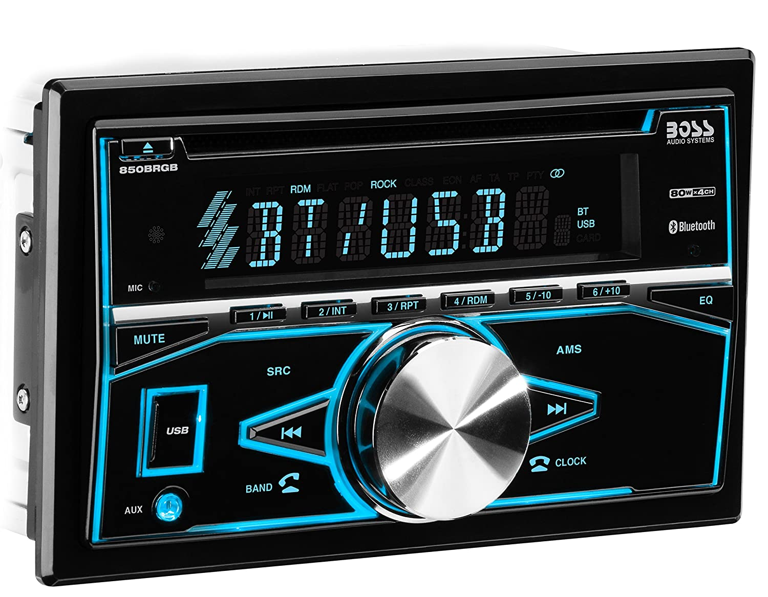 BOSS Audio 850BRGB Car Stereo - Double Din, Bluetooth, CD/MP3/USB AM/FM Radio, Multi Color Illumination