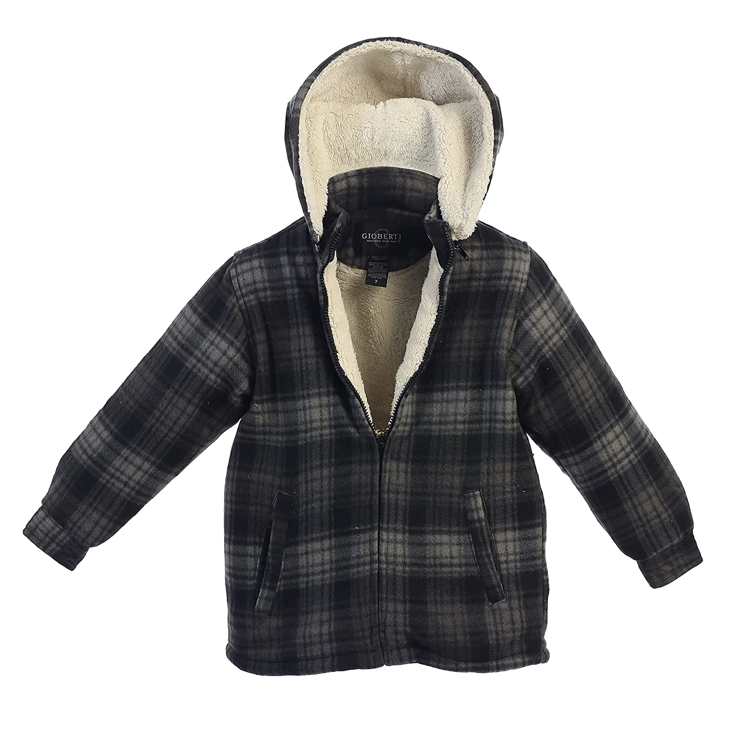 Gioberti Boys Flannel Jacket with Sherpa Lining, Removable Hood Black Hash 3T JA-203:11-3T