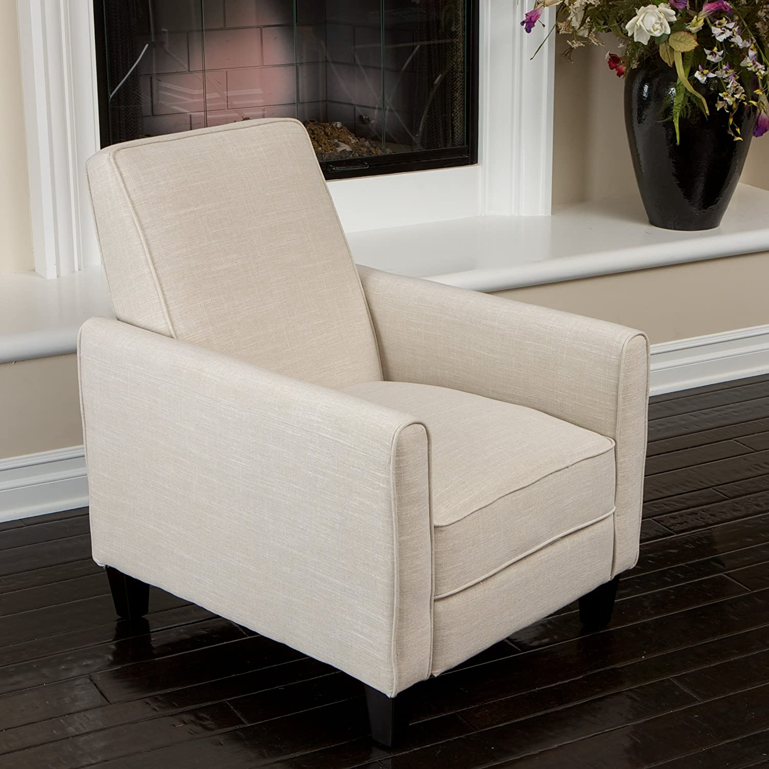 Amazon.com: Lucas Sleek Modern Beige Fabric Upholstered Recliner Club Chair:  Kitchen U0026 Dining