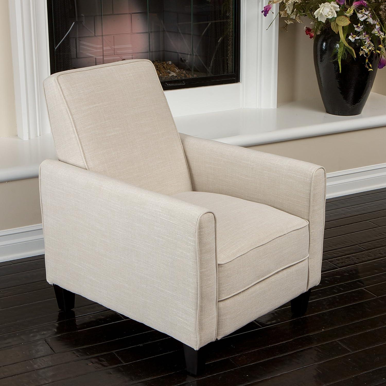 Amazon Lucas Sleek Modern Beige Fabric Upholstered Recliner