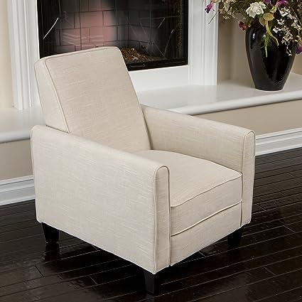 amazon com lucas sleek modern beige fabric upholstered recliner