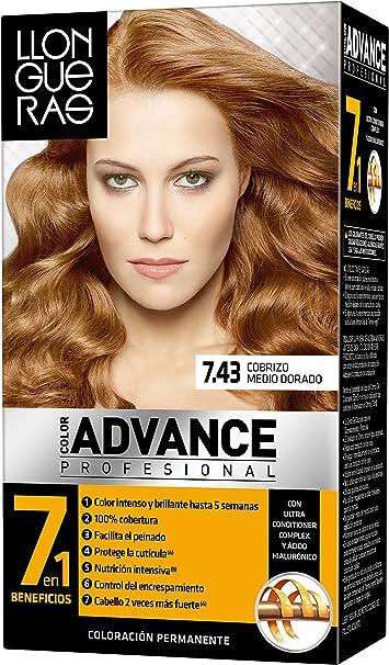 Llongueras Llong Color Advance 7.43 Cobrizo Medio Dorado Coloración Permanente - 210 gr - [paquete de 3]