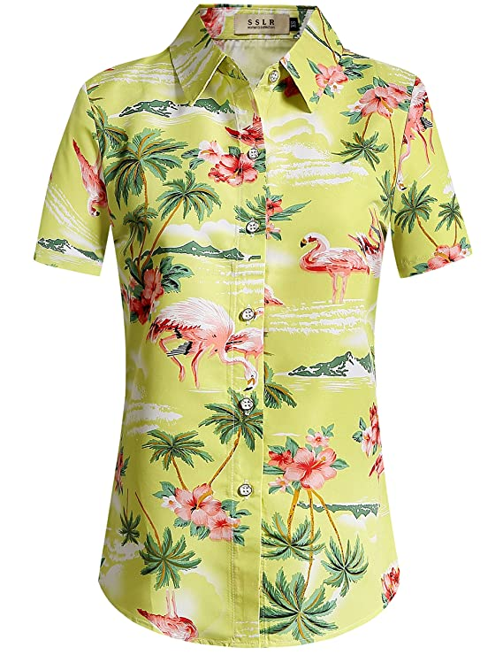 Vintage & Retro Shirts, Halter Tops, Blouses SSLR Womens Floral Flamingos Casual Button Down Aloha Hawaiian Shirt $19.90 AT vintagedancer.com