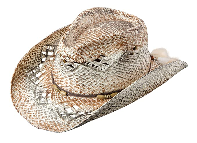 fbb70c407 Broner Ladies Vented Western Hat. Leather-Like Beaded Band with Feather Trim