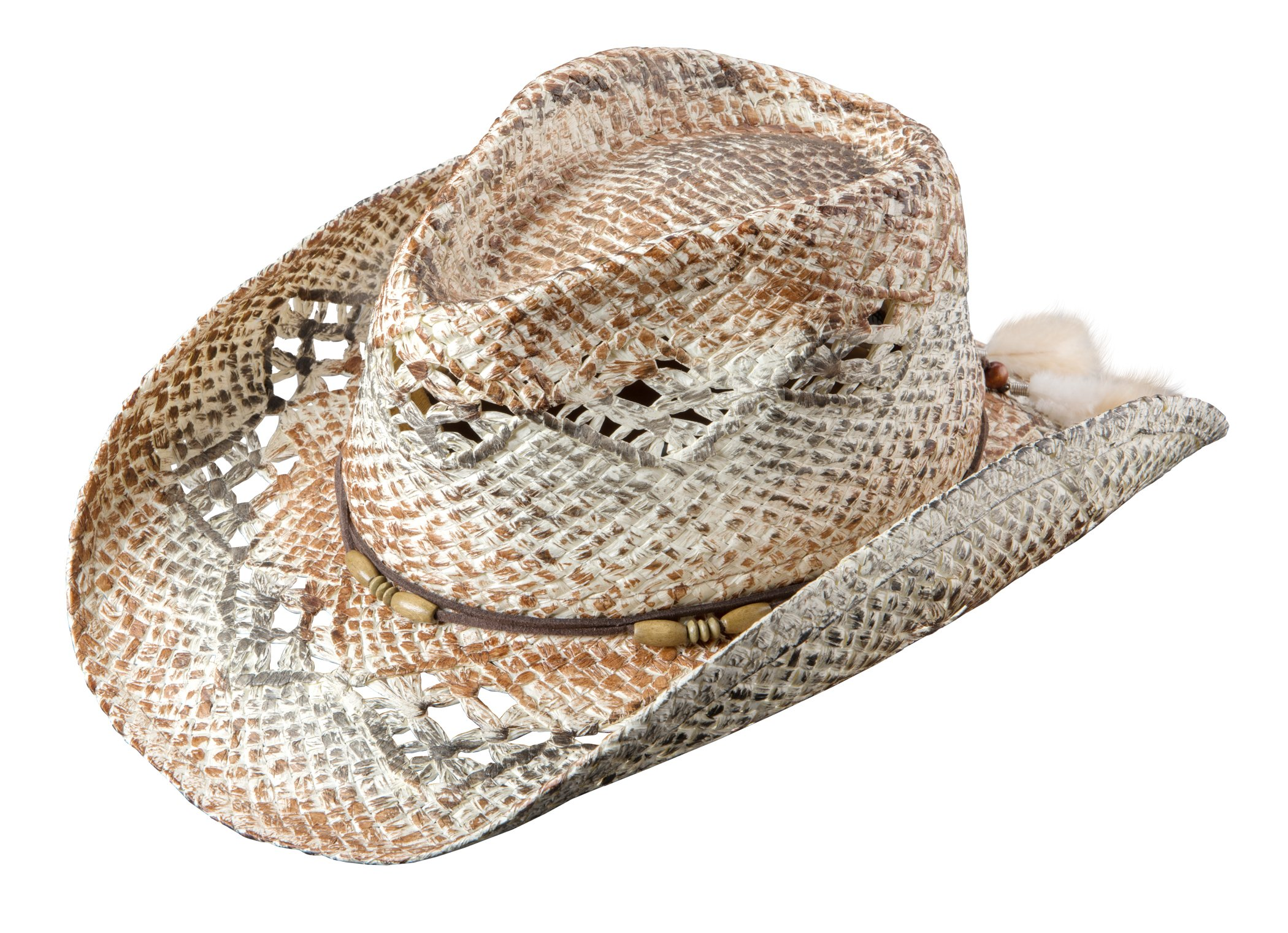 Broner Ladies Vented Western Hat. Leather-Like Beaded Band with Feather Trim