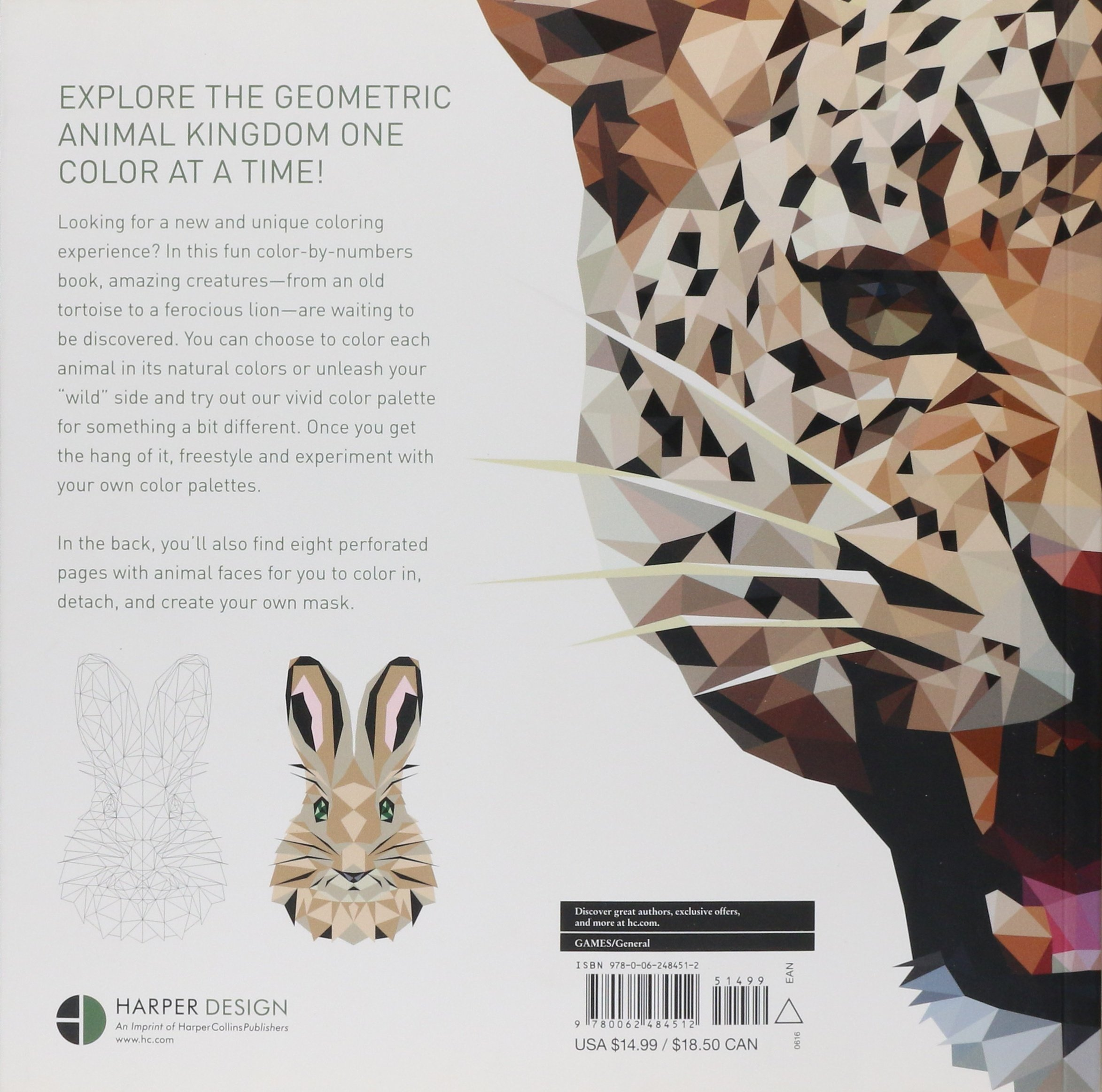 Coloring by numbers for rabbits - Trianimals Color Me Wild 60 Color By Number Geometric Artworks With Bite Hope Little Cetin Can Karaduman 9780062484512 Amazon Com Books