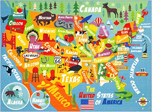 KC Cubs Playtime Collection USA United States Map Educational Learning Game Area Rug Carpet for Kids and Children Bedrooms and Playroom 8 2 x 9 10 , Multi