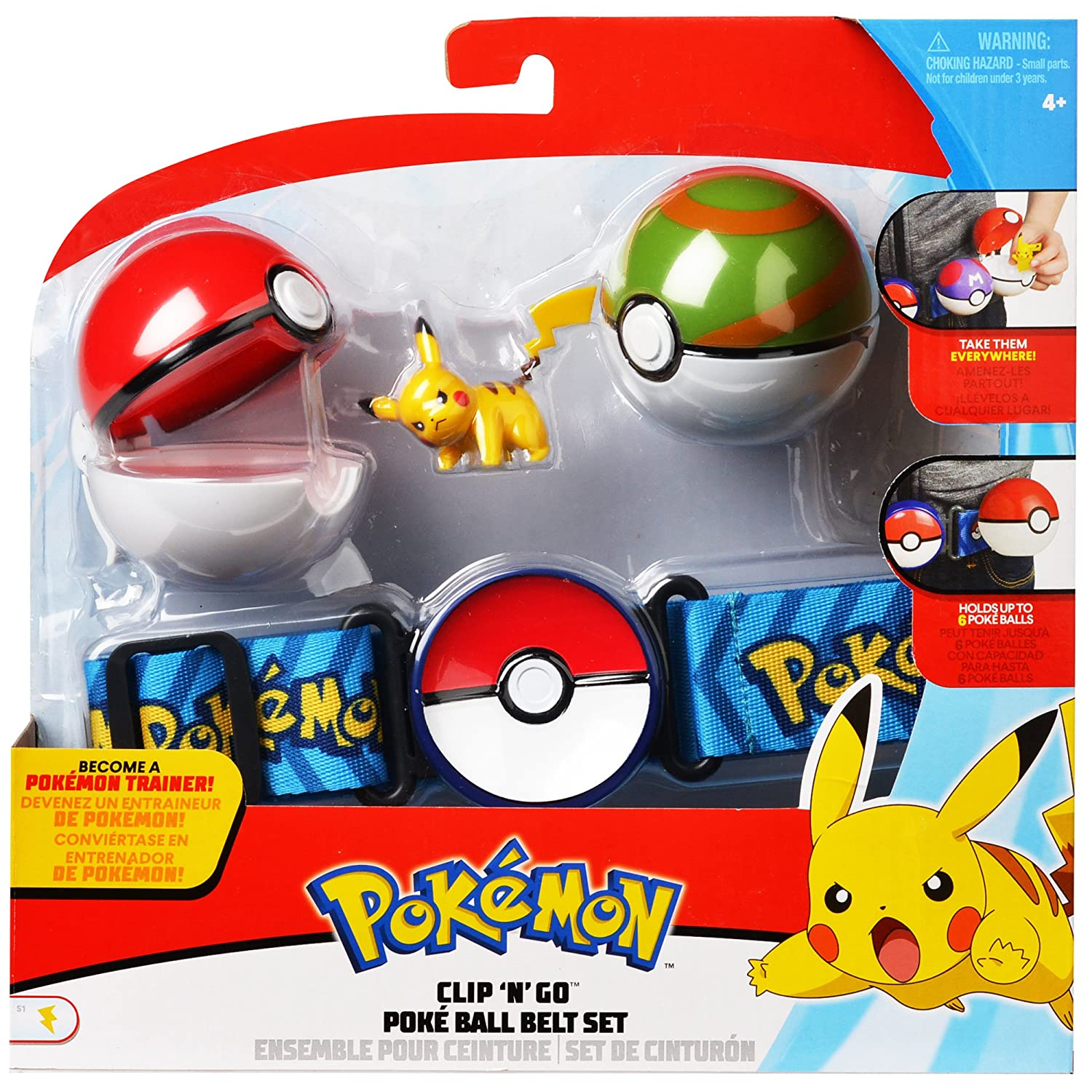 Amazon com pokemon clip n go poke ball belt set comes with poké ball nest ball and 2 inch pikachu figure toys games